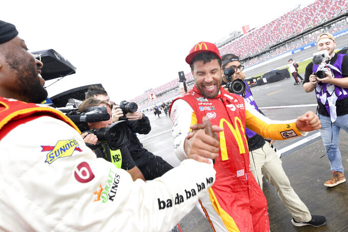 Bubba Wallace is shown after winning a NASCAR Cup series auto race Monday, Oct. 4, 2021, in Talladega, Ala. (AP Photo/John Amis)