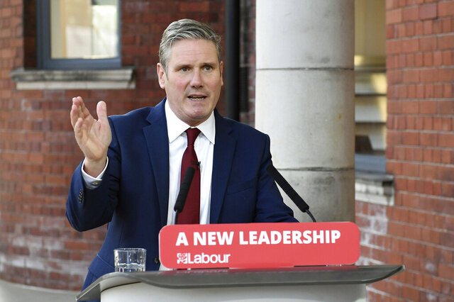 """FILE - In this Tuesday, Sept. 22, 2020 file photo, Britain's Labour leader Keir Starmer delivers his keynote speech, during the party's online conference from the Danum Gallery, Library and Museum in Doncaster, England. Britain's equalities watchdog said Thursday, Oct. 29, 2020 that officials in the country's main opposition Labour Party failed to stamp out anti-Semitism and committed """"unlawful acts of harassment and discrimination"""" against the Jewish community. Jeremy Corbyn's successor Keir Starmer has vowed to stamp out prejudice and restore relations between the party and the Jewish community. (Stefan Rousseau/Pool Photo via AP, file)"""