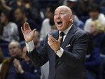 Tulane head coach Mike Dunleavy, Sr. reacts during the first half of an NCAA college basketball game against Connecticut, Saturday, Jan. 19, 2019, in Storrs, Conn. (AP Photo/Jessica Hill)