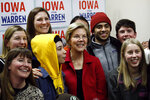 Democratic presidential candidate Sen. Elizabeth Warren, D-Mass., poses for a photo with attendees after speaking at a campaign event, Saturday, Jan. 18, 2020, in Des Moines, Iowa. (AP Photo/Patrick Semansky)