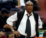 FILE - Temple coach John Chaney watches his players during the second half of their Atlantic 10 tournament basketball game against Rhode Island in Cincinnati, in this Wednesday, March 8, 2006, file photo. Temple won 74-45. John Chaney, one of the nation's leading Black coaches and a commanding figure during a Hall of Fame basketball career at Temple, has died. He was 89. His death was announced by the university Friday, Jan. 29, 2021. (AP Photo/Tony Tribble, File)