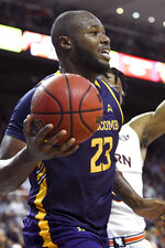 Lipscomb center Ahsan Asadullah (23) looks for an open man during the first half of an NCAA college basketball game against Auburn, Sunday, Dec. 29, 2019, in Auburn, Ala. (AP Photo/Julie Bennett)