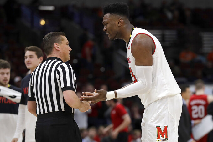 Maryland's Bruno Fernando (23) argues a call during the second half of an NCAA college basketball game against the Nebraska in the second round of the Big Ten Conference tournament, Thursday, March 14, 2019, in Chicago. (AP Photo/Nam Y. Huh)