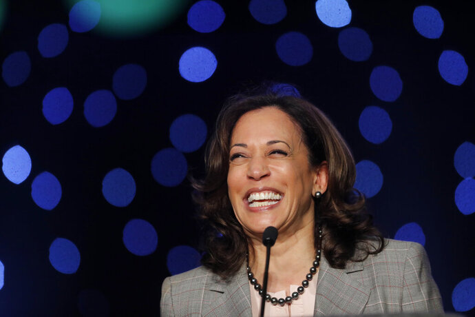 Democratic presidential candidate Sen. Kamala Harris, D-Calif., speaks at the Alpha Kappa Alpha Sorority South Central Regional Conference in New Orleans, Friday, April 19, 2019.  Harris is tapping into a network of historically black colleges and universities to mobilize her supporters (AP Photo/Gerald Herbert)