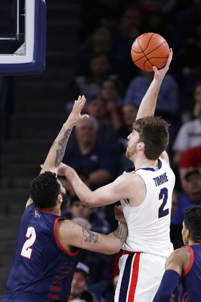 Gonzaga forward Drew Timme, top right, shoots over Detroit Mercy forward Justin Miller, left, during the second half of an NCAA college basketball game in Spokane, Wash., Monday, Dec. 30, 2019. (AP Photo/Young Kwak)