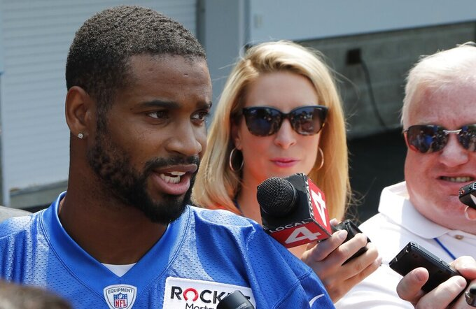 Detroit Lions cornerback Darius Slay meets with the media at the Lions NFL football practice facility, Thursday, July 25, 2019, in Allen Park, Mich. (AP Photo/Carlos Osorio)