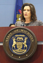 Michigan Gov. Gretchen Whitmer speaks about new lead testing rules for drinking water on Wednesday, June 26, 2019, at the Romney Building in Lansing, Mich. State officials expects the regulations to result in more communities exceeding lead limits. (AP Photo/David Eggert)