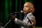 The Rev. Al Sharpton addresses the crowd at a Juneteenth rally in Tulsa, Okla., Friday, June 19, 2020. Juneteenth marks the day in 1865 when federal troops arrived in Galveston, Texas, to take control of the state and ensure all enslaved people be freed, more than two years after the Emancipation Proclamation. (AP Photo/Charlie Riedel)