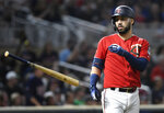 Minnesota Twins' Marwin Gonzalez flips his bat away after striking out to end the eighth inning of a baseball game against the Chicago White Sox, Monday, Sept. 16, 2019, in Minneapolis. (AP Photo/Tom Olmscheid)