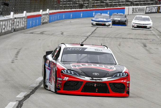 Driver Christopher Bell races down the front stretch during a NASCAR auto race at Texas Motor Speedway, Saturday, March 30, 2019, in Fort Worth, Texas. (AP Photo/Larry Papke)