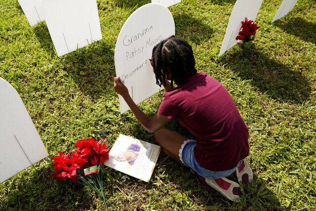 FILE - In this Nov. 24, 2020, file photo, Kyla Harris, 10, writes a tribute to her grandmother Patsy Gilreath Moore, who died at age 79 of COVID-19, at a symbolic cemetery created to remember and honor lives lost to COVID-19, in the Liberty City neighborhood of Miami. In Florida, more than 20,000 residents have died from COVID-19, tens of thousands have been hospitalized and more than a million caught it. (AP Photo/Lynne Sladky, File)