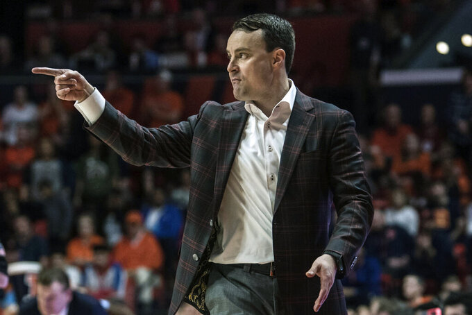 FILE - Indiana head coach Archie Miller reacts on the sideline in the second half of an NCAA college basketball game against Illinois in Champaign, Ill., in this Sunday, March 1, 2020, file photo. Miller has been trying to improve the Hoosiers perimeter game for three seasons. He may finally have the answer. (AP Photo/Holly Hart, File)