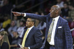 Wake Forest head coach Danny Manning gestures to his players during the first half of an NCAA college basketball game against Boston College in Boston, Wednesday, Nov. 6, 2019. (AP Photo/Charles Krupa)