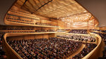 This artist rendering released by the New York Philharmonic shows the new design of the interior of Geffen Hall, part of a $550 million renovation project slated to be complete by March 2024. (New York Philharmonic via AP)