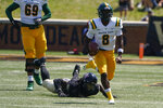 Norfolk State quarterback Juwan Carter runs against the Wake Forest during the first half of a NCAA college football game Saturday, Sept. 11, 2021, in Winston-Salem, N.C. (AP Photo/Chris Carlson)