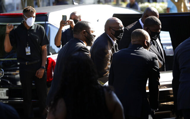 The casket of George Floyd arrives for a public memorial at The Fountain of Praise church in Houston, Monday, June 8, 2020.  (AP Photo/Eric Gay)