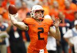 Syracuse's Eric Dungey passes in the first quarter of an NCAA college football game against Florida State in Syracuse, N.Y., Saturday, Sept. 15, 2018. (AP Photo/Nick Lisi)