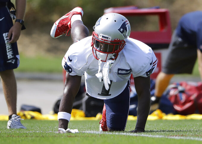 New England Patriots wide receiver Antonio Brown works out during NFL football practice, Wednesday, Sept. 11, 2019, in Foxborough, Mass. Brown practiced with the team for the first time on Wednesday afternoon, a day after his former trainer filed a civil lawsuit in the Southern District of Florida accusing him of sexually assaulting her on three occasions. (AP Photo/Steven Senne)