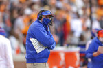 Florida head coach Dan Mullen looks on during the first half of an NCAA college football game against Tennessee in Knoxville, Tenn., Saturday, Dec. 5, 2020. (Randy Sartin/Knoxville News Sentinel via AP, Pool)