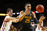 Baylor forward Tristan Clark (25) is fouled by Iowa State forward Michael Jacobson, left, during the first half of an NCAA college basketball game Wednesday, Jan. 29, 2020, in Ames, Iowa. (AP Photo/Charlie Neibergall)