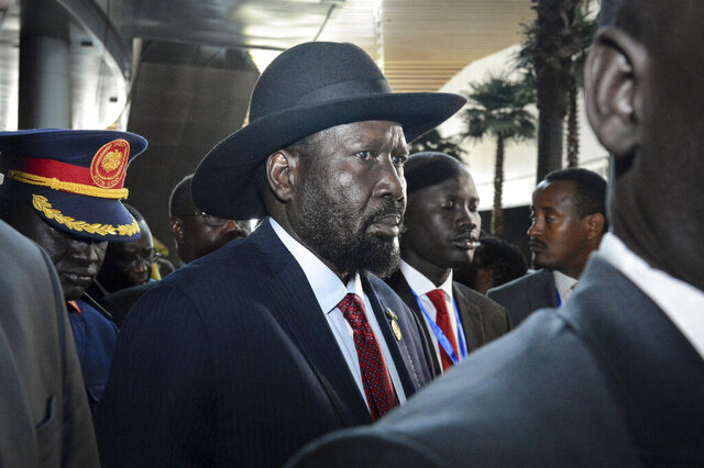 South Sudan's President Salva Kiir arrives for the opening session of the 33rd African Union (AU) Summit at the AU headquarters in Addis Ababa, Ethiopia Sunday, Feb. 9, 2020. Topics on the table for discussion included the situations in Libya and Sudan, as well as President Donald Trump's Middle East initiative. (AP Photo)