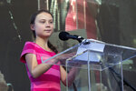 Swedish teenage climate activist Greta Thunberg speaks as she takes part during the Climate Strike, Friday, Sept. 20, 2019 in New York.Tens of thousands of protesters joined rallies on Friday as a day of worldwide demonstrations calling for action against climate change began ahead of a U.N. summit in New York.(AP Photo/Eduardo Munoz Alvarez)