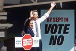 Vice President Kamala Harris joins California Gov. Gavin Newsom rallying against the California gubernatorial recall election on Wednesday, Sept. 8, 2021, in San Leandro, Calif. (AP Photo/Noah Berger)