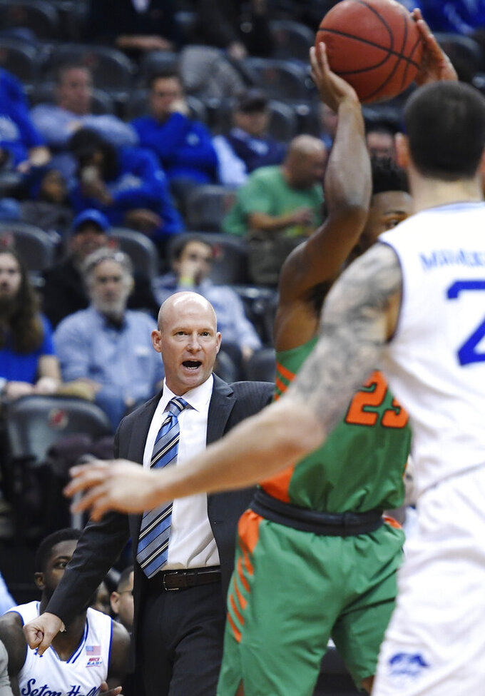 Seton Hall head coach Kevin Willard directs his players during the first half of an NCAA college basketball game against Florida A&M, Saturday, Nov. 23, 2019 in Newark, N.J. (AP Photo/Sarah Stier)