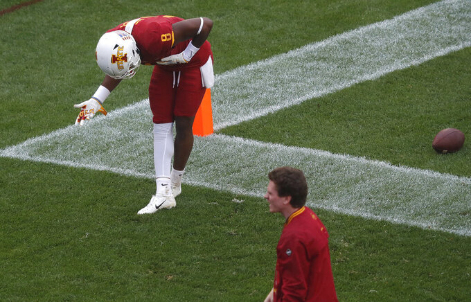 Iowa State wide receiver Deshaunte Jones bows to the crowd after scoring a touchdown against Louisiana-Monroe during the second half of an NCAA college football game, Saturday, Sept. 21, 2019, in Ames. Iowa State won 72-20. (AP Photo/Matthew Putney)