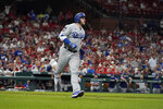 Los Angeles Dodgers' Max Muncy rounds the bases after hitting a solo home run during the sixth inning of a baseball game against the St. Louis Cardinals Wednesday, Sept. 8, 2021, in St. Louis. (AP Photo/Jeff Roberson)