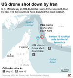 Graphic pinpoints the drone shooting locations provided by the U.S. and Iran and shows how they are conflicting in location;