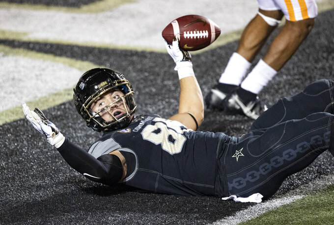 Vanderbilt wide receiver Jayden Harrison (88) reacts after scoring a touchdown during the second half of an NCAA college football game against Tennessee, Saturday, Dec. 12, 2020, in Nashville, Tenn. (AP Photo/Wade Payne)