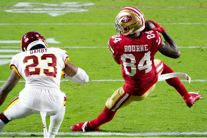 San Francisco 49ers wide receiver Kendrick Bourne (84) scores on the two point conversion as Washington Football Team cornerback Ronald Darby (23) defends during the second half of an NFL football game, Sunday, Dec. 13, 2020, in Glendale, Ariz. (AP Photo/Rick Scuteri)