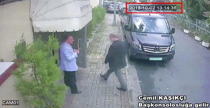 FILE - In this Oct. 2, 2018file image taken from CCTV video obtained by the Turkish newspaper Hurriyet, shows Saudi journalist Jamal Khashoggi entering the Saudi consulate in Istanbul. Saudi Crown Prince Mohammed bin Salman's first trip abroad since the killing of Khashoggi will offer an early indication of whether he will face any repercussions. The prince is visiting close allies in the Middle East before attending the Group of 20 Summit in Argentina, where he will come face to face with Trump, who appears keen to preserve their friendship, as well as European leaders and Turkey's president, who has stepped up pressure on the kingdom. (CCTV/Hurriyet via AP, File)