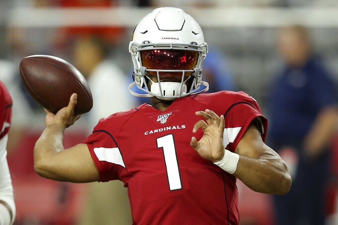 Arizona Cardinals quarterback Kyler Murray (1) warms up prior to an NFL preseason football game against the Los Angeles Chargers, Thursday, Aug. 8, 2019, in Glendale, Ariz. (AP Photo/Ross D. Franklin)