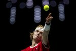 Russia's Andrey Rublev serves to Croatia's Borna Gojo during their Davis Cup tennis match in Madrid, Spain, Monday, Nov. 18, 2019. (AP Photo/Bernat Armangue)
