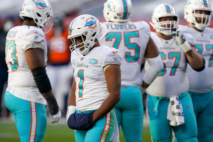 Miami Dolphins quarterback Tua Tagovailoa (1) during the second half of an NFL football game against the Denver Broncos, Sunday, Nov. 22, 2020, in Denver. (AP Photo/David Zalubowski)