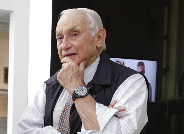 FILE - This Sept. 19, 2014 file photo shows retail mogul Leslie Wexner, at the Wexner Center for the Arts in Columbus, Ohio. A review released by Ohio State University on Thursday, April 9, 2020 identified $336,000 in donations and pledges that the university received from Jeffrey Epstein and his foundation, a sum the school said it was donating immediately to fight human trafficking. (AP Photo/Jay LaPrete, File)