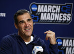 FILE - In this March 22, 2019, file photo, Villanova head coach Jay Wright speaks during a news conference at the men's college basketball NCAA Tournament, in Hartford, Conn. (AP Photo/Elise Amendola, File)