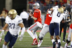 Ohio State quarterback Kyle McCord drops back to pass against Akron during the first half of an NCAA college football game Saturday, Sept. 25, 2021, in Columbus, Ohio. (AP Photo/Jay LaPrete)