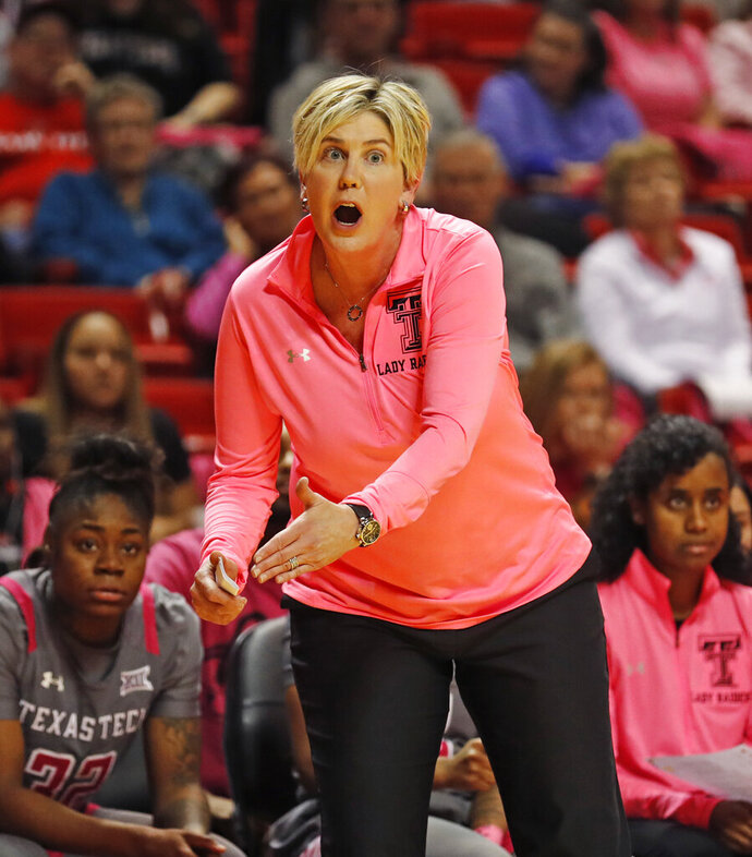 FILE  - In this Feb. 9, 2019, file photo, Texas Tech women's coach Marlene Stollings yells out to her players during the second half of an NCAA college basketball game against Oklahoma State, in Lubbock, Texas. Former Texas Tech women's basketball coach Marlene Stollings, who was fired after USA Today published a report detailing players' claims of physical and emotional abuse, has filed a lawsuit against the school and athletic director Kirby Hocutt. The lawsuit filed Tuesday, Oct. 20, 2020, in U.S. District Court in Lubbock, Texas, claims breach of contract, fraud, fraudulent inducement, defamation and sex discrimination. (Brad Tollefson/Lubbock Avalanche-Journal via AP, File)
