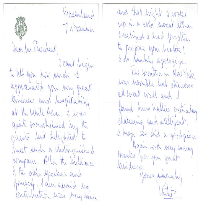 In this image provided by The Richard Nixon Library & Museum, shows two sides of a letter that Prince Philip wrote to President Richard Nixon. (The Richard Nixon Library & Museum via AP)