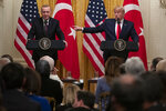 President Donald Trump speaks during a news conference with Turkish President Recep Tayyip Erdogan in the East Room of the White House, Wednesday, Nov. 13, 2019, in Washington. (AP Photo/ Evan Vucci)