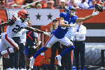 New York Giants wide receiver David Sills, right, stretches but cannot reach the ball under pressure from Cleveland Browns cornerback Greedy Williams (26) during the first half of an NFL football game, Sunday, Aug. 22, 2021, in Cleveland. (AP Photo/David Dermer)