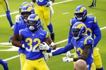 Los Angeles Rams strong safety Jordan Fuller (32) celebrates after intercepting a pass against the San Francisco 49ers during the first half of an NFL football game Sunday, Nov. 29, 2020, in Inglewood, Calif. (AP Photo/Alex Gallardo)