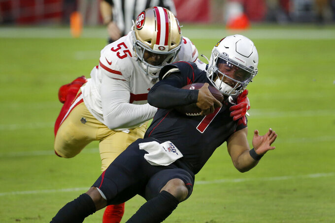 Arizona Cardinals quarterback Kyler Murray (1) is tackled by San Francisco 49ers defensive end Dee Ford (55) during the second half of an NFL football game, Thursday, Oct. 31, 2019, in Glendale, Ariz. (AP Photo/Rick Scuteri)