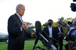 FILE - In this Sept. 7, 2021, file photo President Joe Biden talks with reporters after landing on Marine One on the South Lawn of the White House in Washington. Biden has proposed more than $3 trillion worth of revenue increases, primarily through higher taxes for corporations and the country's richest households as well as greater IRS enforcement that would target the wealthy. But key lawmakers voiced doubts this week about the size and possible impacts on the economy as congressional committees weighed the measures and a wide array of business groups sifted through the details to highlight what they oppose. (AP Photo/Susan Walsh)