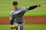 Miami Marlins' Trevor Rogers pitches against the Atlanta Braves during the first inning of a baseball game Monday, Sept. 21, 2020, in Atlanta. (AP Photo/John Amis)