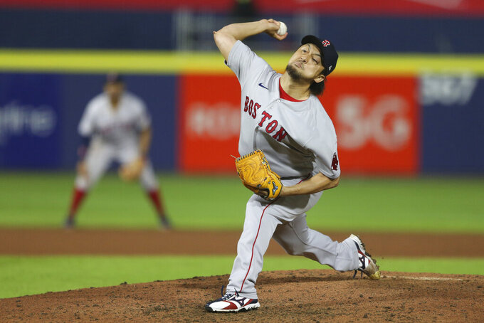 Boston Red Sox relief pitcher Hirokazu Sawamura throws during the seventh inning of a baseball game against the Toronto Blue Jays on Monday, July 19, 2021, in Buffalo, N.Y. (AP Photo/Joshua Bessex)