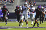 Kansas State quarterback Will Howard (15) carries the ball for an 80-yard run in the first quarter of an NCAA college football game against TCU, Saturday, Oct. 10, 2020, in Arlington, Texas. (AP Photo/Richard W. Rodriguez)